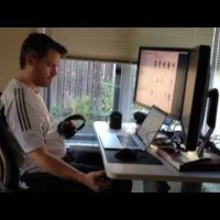Sort-of-DIY, Sit-Stand Treadmill Desk in Action: Transforming to Sitting